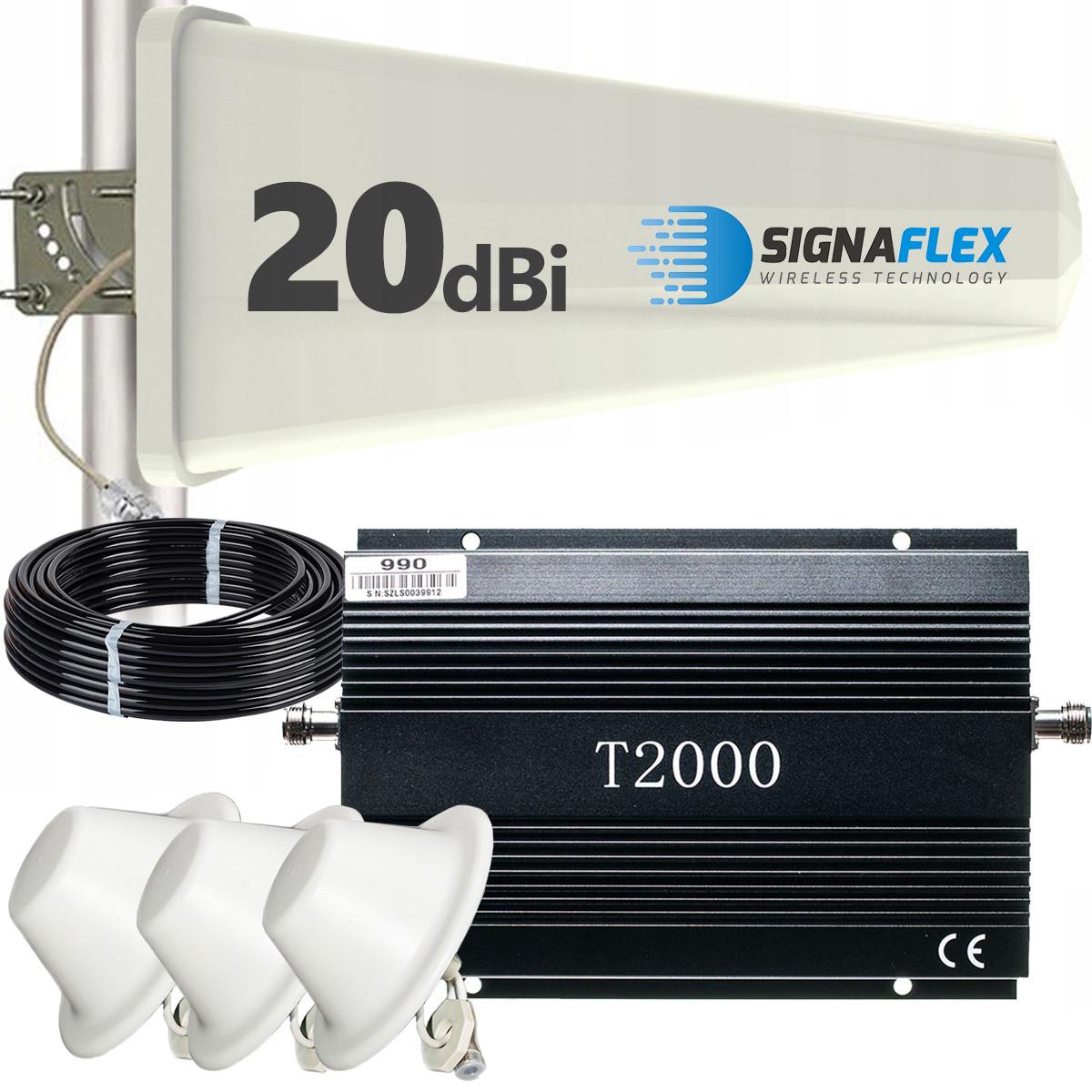 Komplet: wzmacniacz GSM T2000 + Tajfun z 3x grzybek