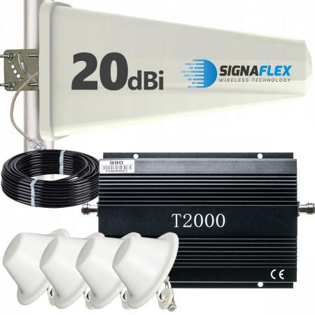 Komplet: wzmacniacz GSM T2000 + Tajfun z 4x grzybek