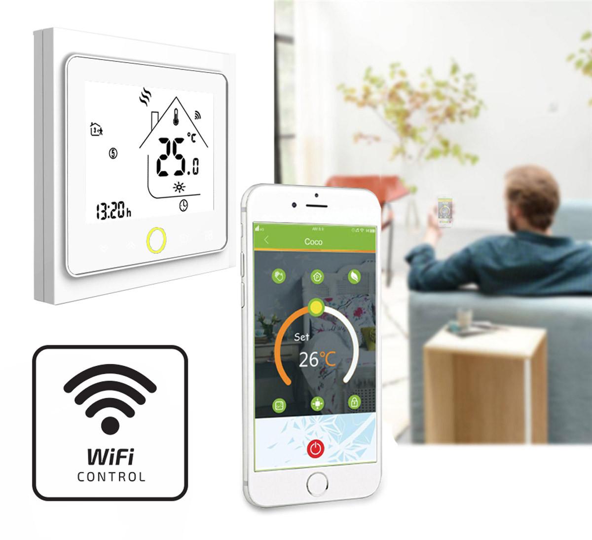 Termostat pokojowy elektroniczny BHT-002 i znaczek Wi-Fi