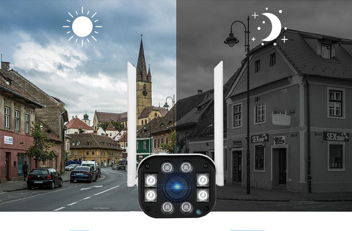 Kamera IP SH031-B Heckermann na tle dnia i nocy