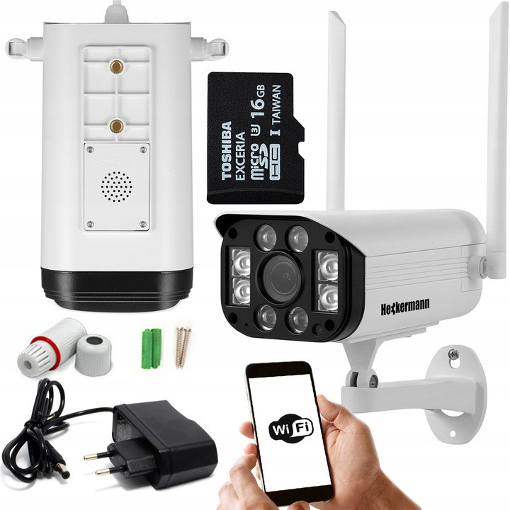 Kamera IP Heckermann, karta ID, kable, śrubki