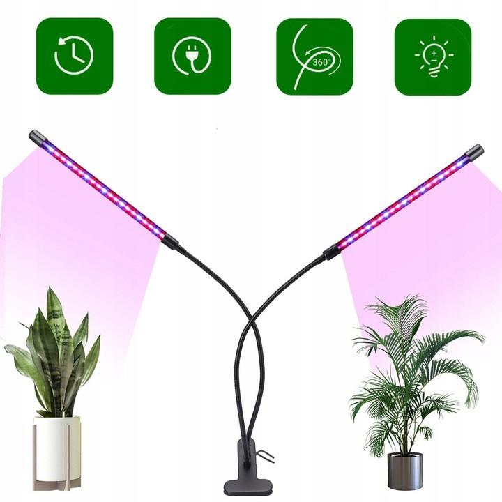 Lampa LED do roślin z 2 głowicami ustawionymi na kwiaty