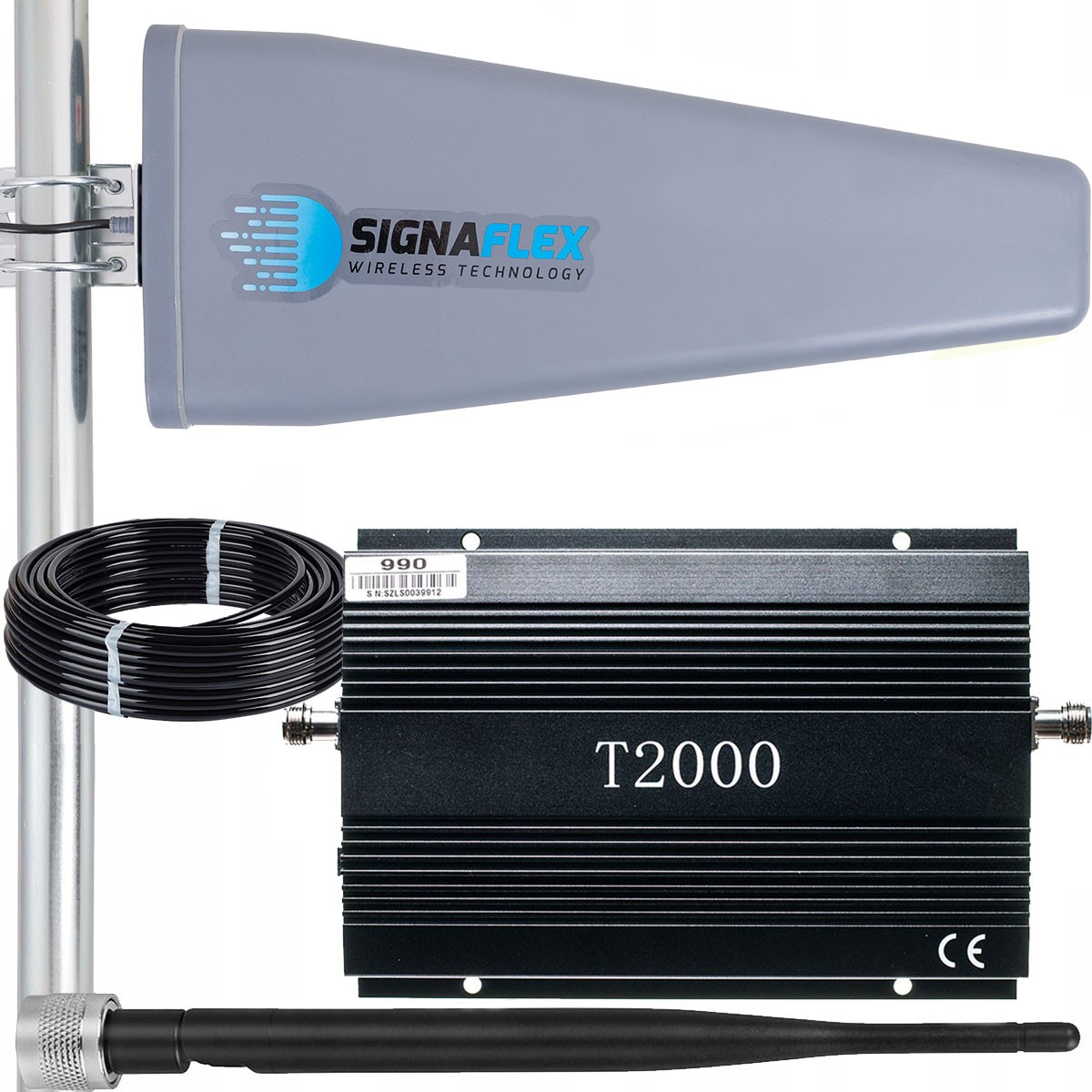 Komplet: wzmacniacz GSM T2000 + Tajfun II 15m z bat