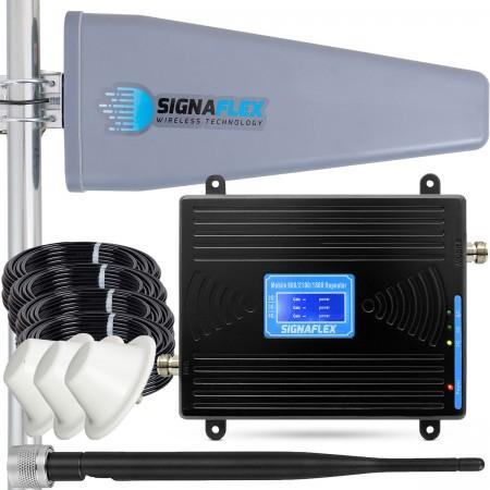 Komplet: wzmacniacz GSM/UMTS/DCS Black LCD Tajfun II 15m + 3x grzybek