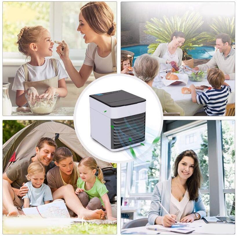 Klimatyzator przenośny na tle szczęśliwej rodziny