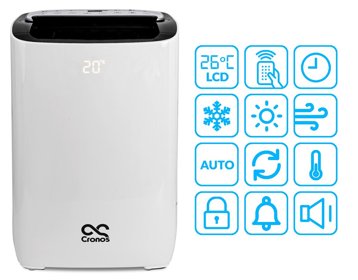 Klimatyzator przenośny i ikony funkcji w nim zawarte