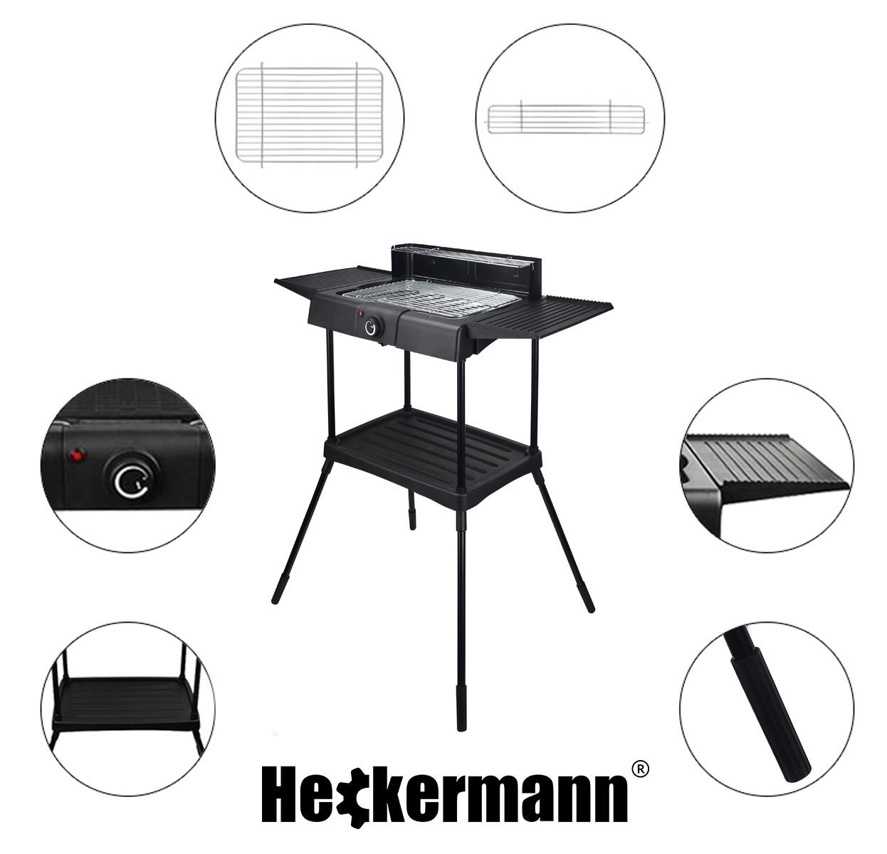 Grill elektryczny Heckermann i zbliżenia na elementy jego budowy