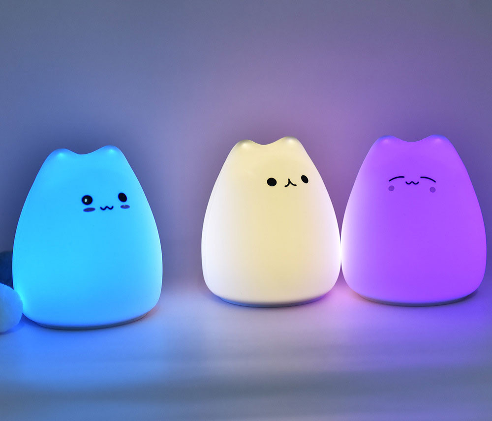 3 lampki LED Kitty świecące na różne kolory