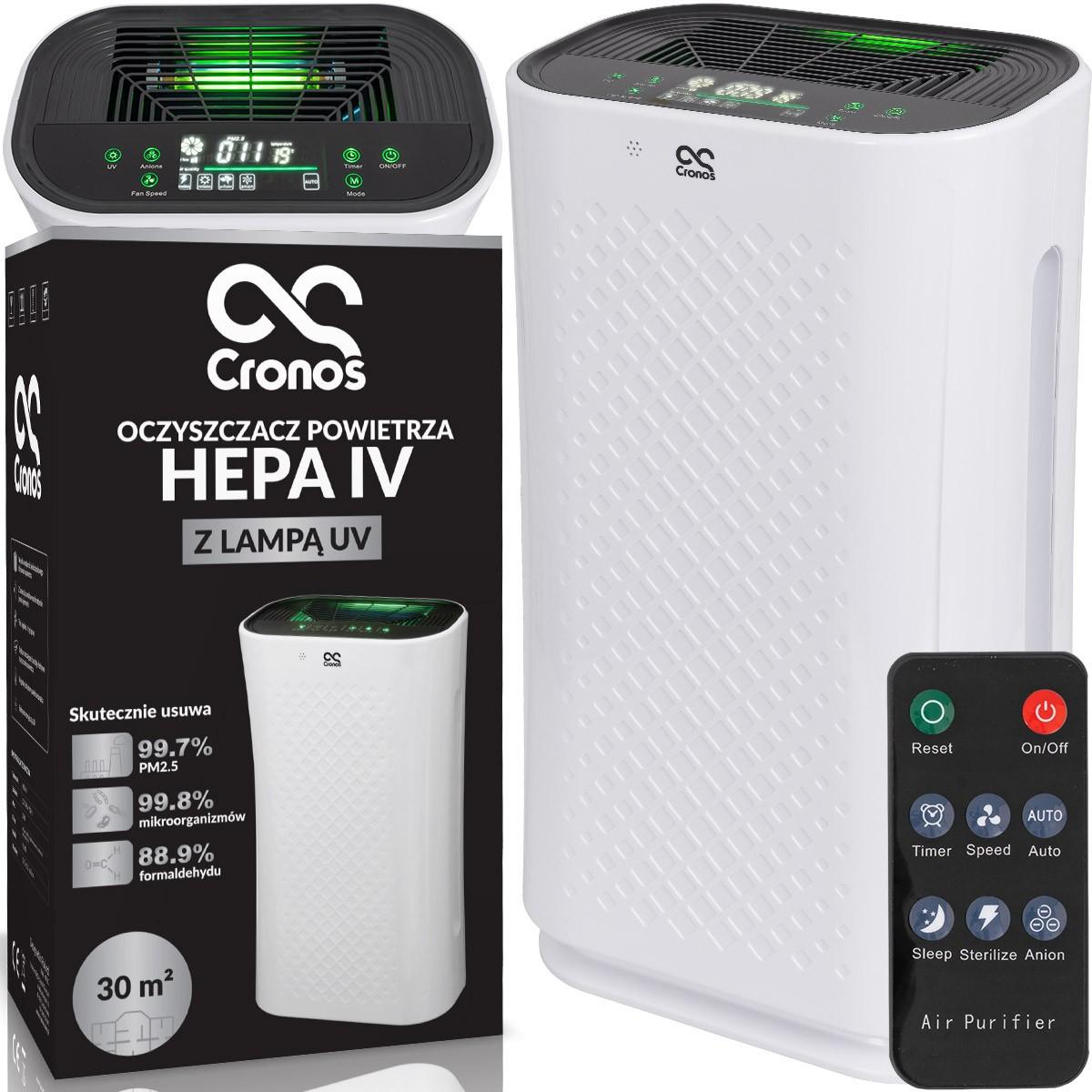 Oczyszczacz powietrza Cronos Hepa IV, pilot i zbliżenie na panel dotykowy