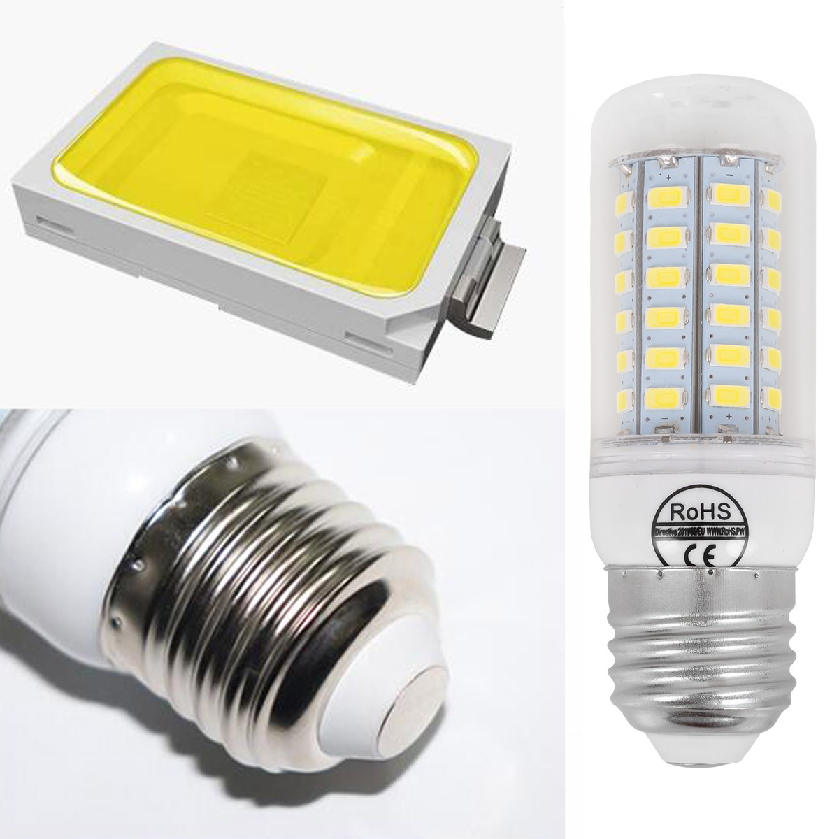 Zbliżenie na elementy konstrukcyjne żarówki LED E27